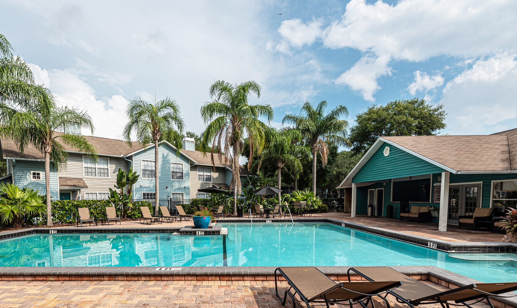 Madison Oaks Pool with Clubhouse View